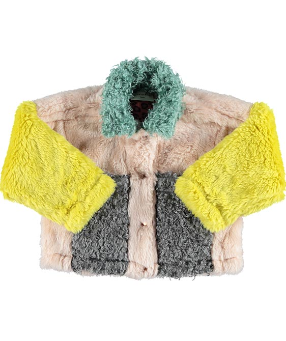 Bomber Tri-Color Faux Fur Jacket