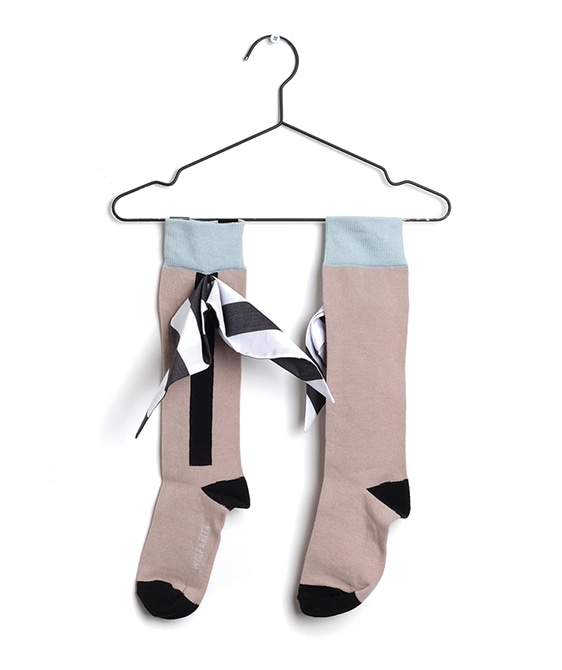 Long Socks Bow White Stripes (Baby&Kid)