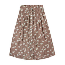Seashell Button Midi Skirts - Cocoa  (Kid/Mom) ★ONLY MOM - L★