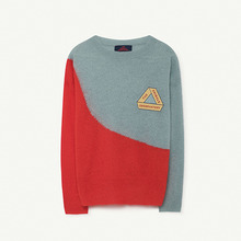 Bicolor Bull Kids Sweater - Soft Blue Triangle ★ONLY 6Y★