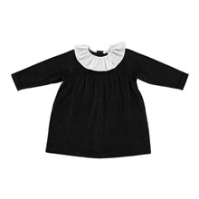 Lorena Velour Dress With Ruffle - Black ★ONLY 3Y★