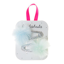 Fluffy Pom Pom Clips - Aquas