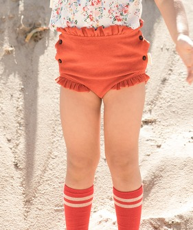 High Waisted Shorts With Frills - Red