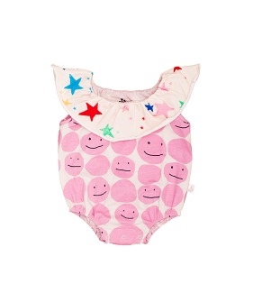 Collar Romper - Pink Smiley ★ONLY 12-18M★