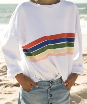 """Rainbow"" Print Sweatshirt - White"