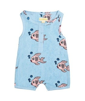 Terry Short Leg Romper - Blue Fish ★ONLY 2Y★