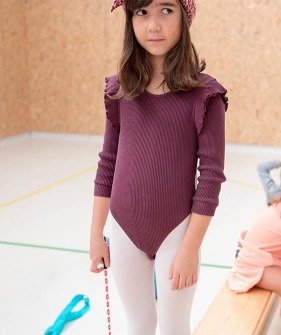 Ribbed Longsleeve Body With Frills - Dark Violet
