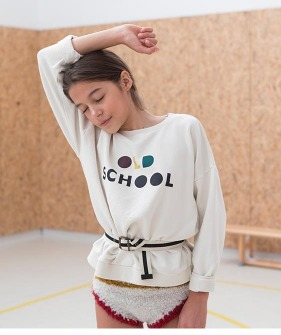 Sweatshirt - Ecru With 'Old School' Print