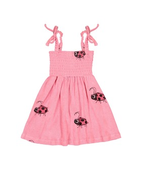 Terry 80's Dress - Pink Ladybug