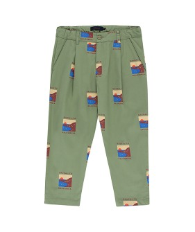 Sausalito Pleated Pant - Green Wood/Aubergine