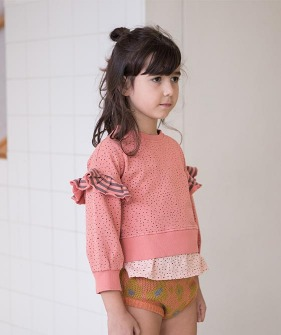 Sweatshirt With Frills On Shoulders - Coral With Black Dots