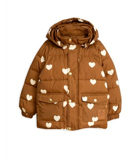 Hearts Pico Puffer Jacket -  Brown