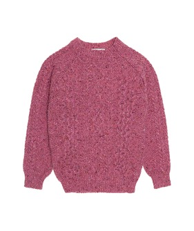 Noel Tweed Cable Jumper  - Pink