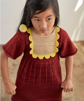 Scallop Bib Dress - Brick