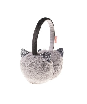 Glitter Cat Earmuffs - Grey
