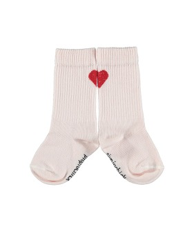 Socks W/ Heart Detail - Pale Pink