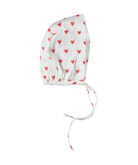 Bonnet - Red Hearts Pattern