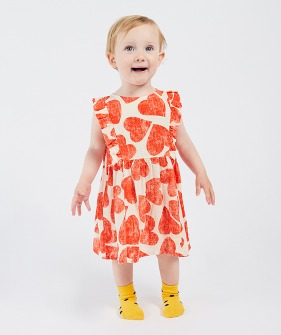 All Over  Hearts Ruffle Dress (Baby) #00089