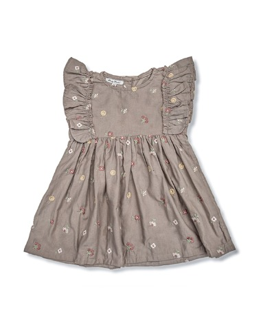 Uniqua Dress - Taupe With Flower Badge