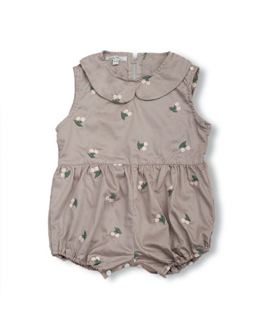 Uniqua Vintage Romper - Taupe With Cherry Badge