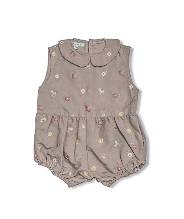 Uniqua Vintage Romper - Taupe With Flower Badge
