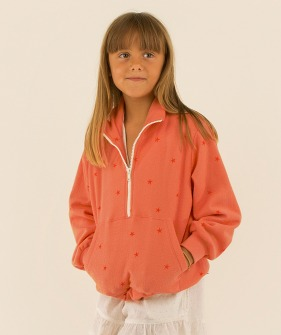 Starfish Mockneck Sweatshirt - Light Papaya/Red