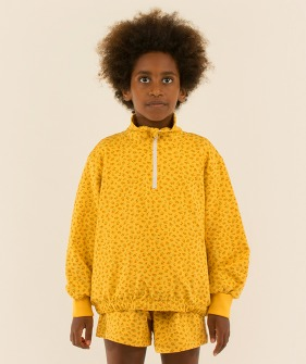 Small Flowers Mockneck Sweatshirt - Yellow/Honey