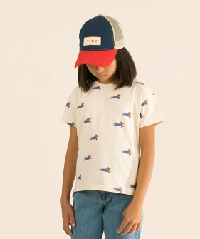 Doggy Paddle Tee - Light Cream/Iris Blue