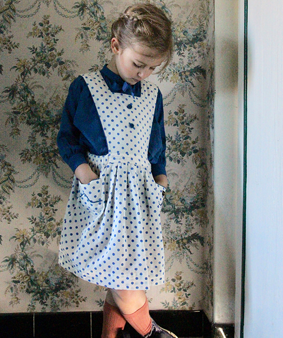 Apron Dress - Blue Dot