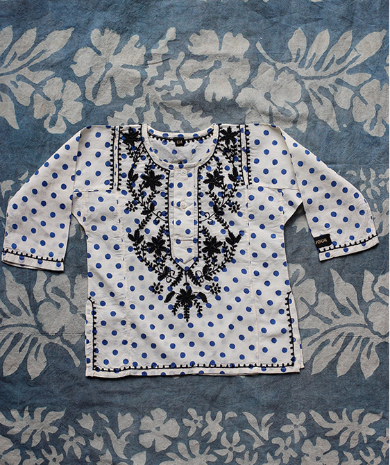 Embroidered Blouse - Blue Dot