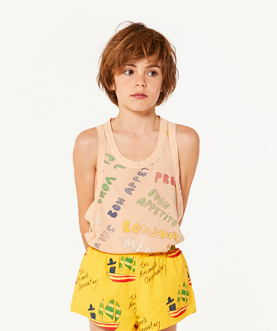 Tank Frog Kids T-Shirt - Toasted Almond Words