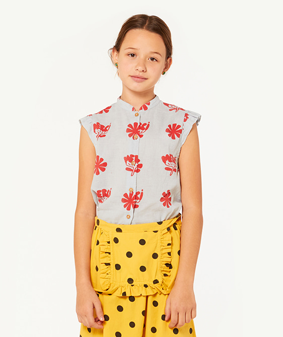Kangaroo Kids Shirt - Blue Flowers