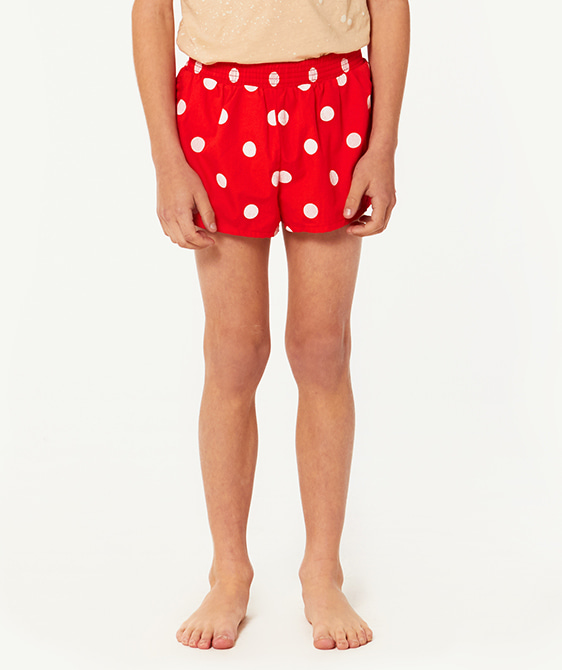 Puppy Kids Swimsuit - Red Polka Dots