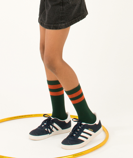 Stripes High Socks - Bottle Green/Red ★ONLY 8Y★