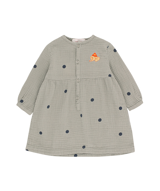 "Dots ""Luckyphant"" Dress - Grey/Bottle Green (Baby&Kid)"