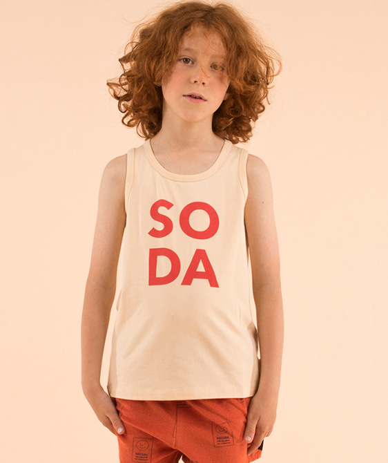 'Soda' Tank Top - Cream/Red