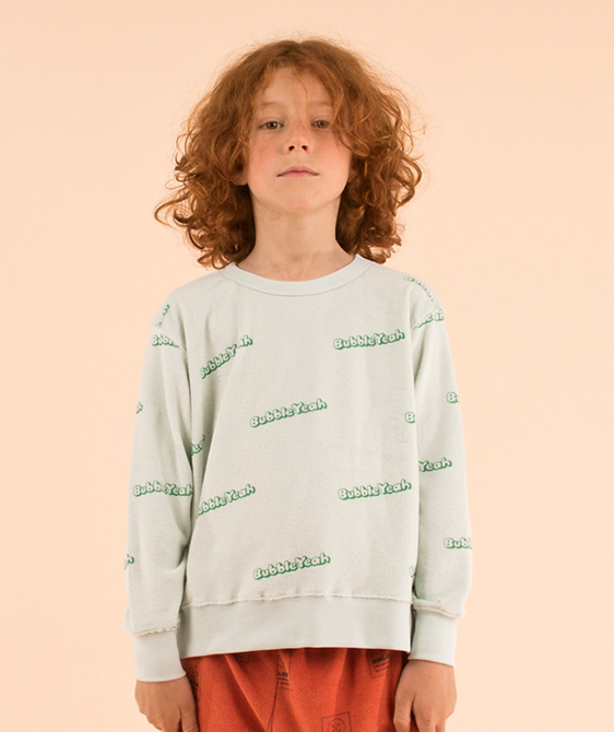 'Bubble Yeah' Sweatshirt - Light Mint/Deep Green