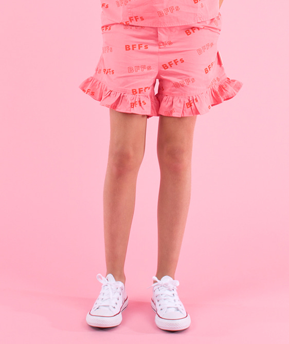 'Bffs' Frills Short - Rose/Red
