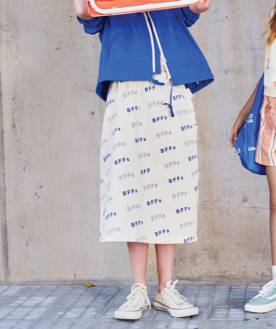 'Bffs' Long Skirt - Cream/Ultramarine