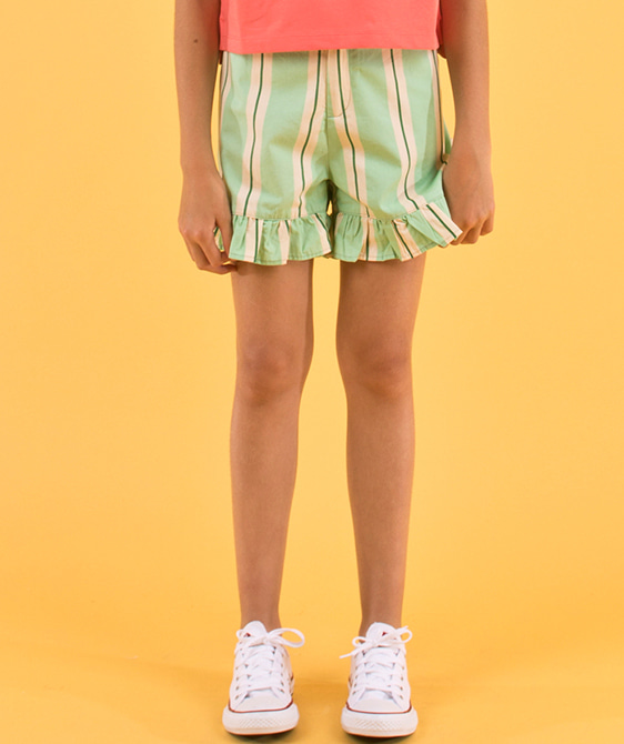 'Retro Stripes' Frills Short - Emerald/Cream ★ONLY 10Y★