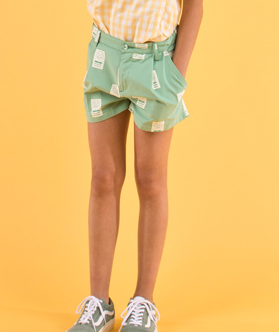 'Hello' Pleat Short - Emerald/Off-White