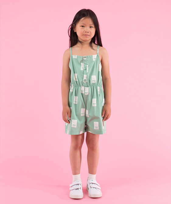 'Hello' Sl Romper - Emerald/Off-White