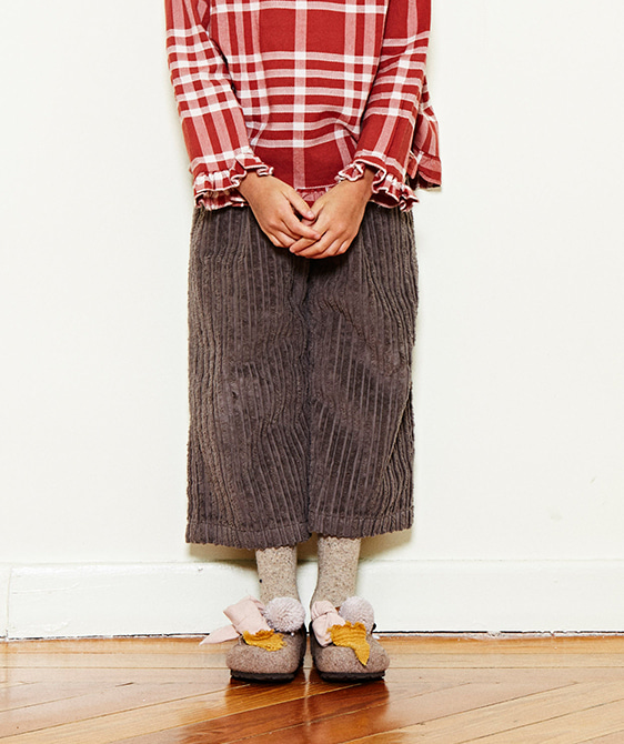 Cropped Corduroy Trousers  - Chestnut