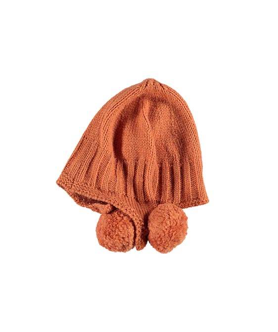 Knitted Bonnet With Ear Pompons - Coral