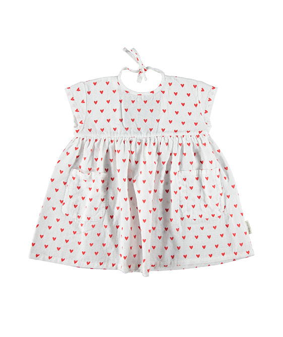 Short Dress - Red Hearts Pattern