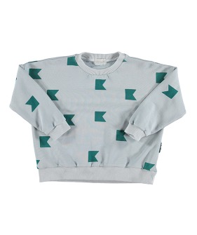 Unisex Sweatshirt - Grey W/ Emerald Nautical Flags Pattern