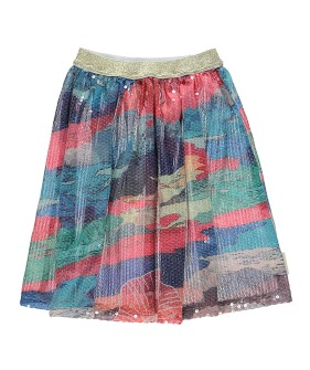 Long Sequin Skirt - Multicolored Pattern