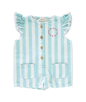 Short Jumpsuit - Light Blue Stripes Serge