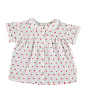 Peter Pan Collar Blouse - White W/ Red Hearts Pattern ★ONL 4Y★