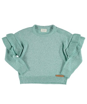 Knitted Sweater w/ Frills on Shoulders - Greenwater Lurex